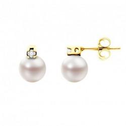 Boucles d'oreilles en Diamant et AKOYA