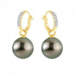 Boucles d'Oreilles Diamants et Tahiti